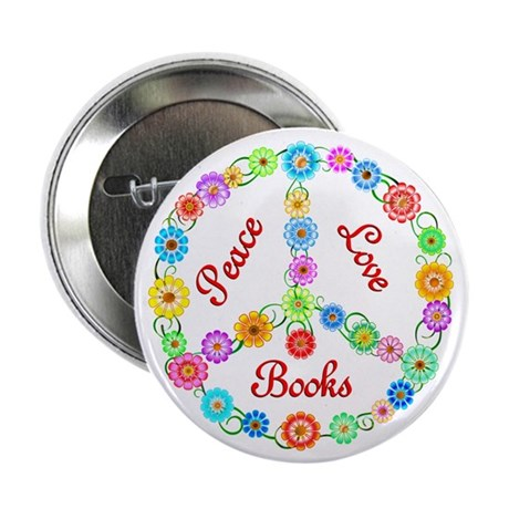 """Peace Love Books 2.25"""" Button (100 pack)"""