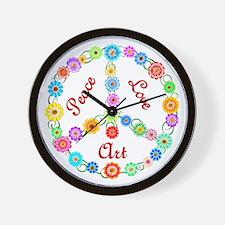 Peace Love Art Wall Clock