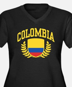 Colombia Women's Plus Size V-Neck Dark T-Shirt