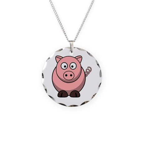 Cartoon Pig Necklace Circle Charm