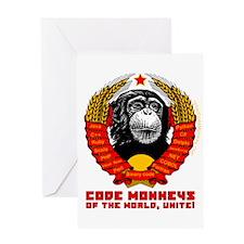 Code Monkeys of the World, Unite! Greeting Card