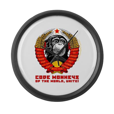 Code Monkeys of the World, Unite! Large Wall Clock