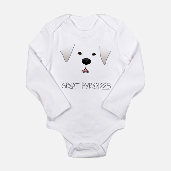 Great Pyrenees Face Long Sleeve Infant Bodysuit