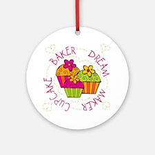 Cupcake Baker Dream Maker Ornament (Round)