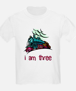 I Am Three Locomotive Kids T-Shirt