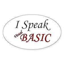 """I Speak Visual Basic"" Oval Decal"