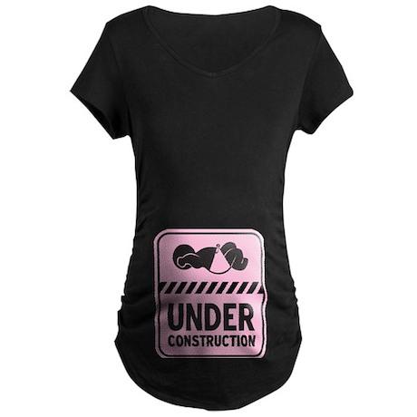 Pink Baby Construction Maternity Dark T-Shirt