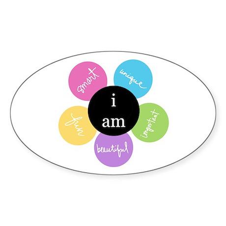 """""""i am..."""" Oval Sticker"""