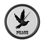 Peace and Love Dove Large Wall Clock