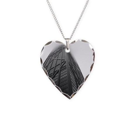 Chicago Hancock Tower Necklace Heart Charm