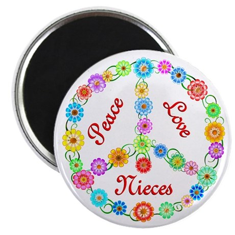 """Peace Love Nieces 2.25"""" Magnet (100 pack)"""