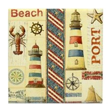 Cute Coastal Tile Coaster