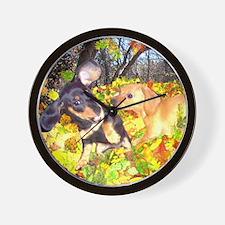 Fall Leaves Dachshunds Wall Clock