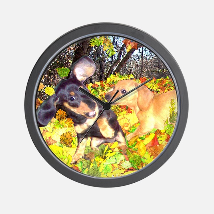 Fall Leaves Dachshunds Wall Clock