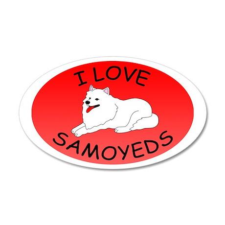 I Love Samoyeds 38.5 x 24.5 Oval Wall Peel