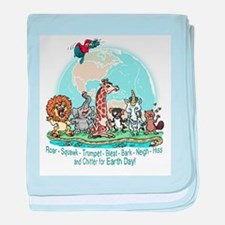 Animals for Earth Day baby blanket