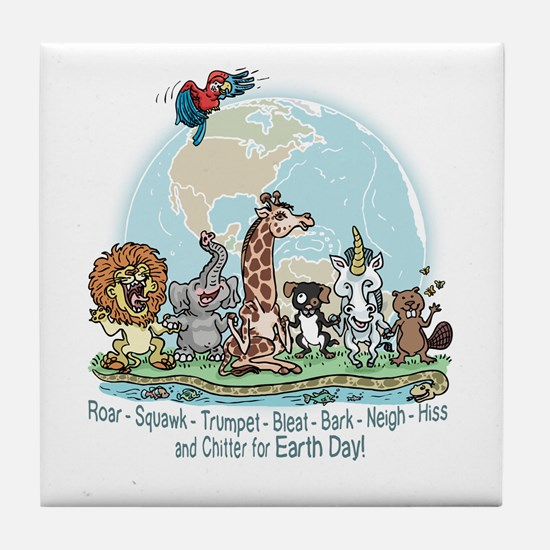Animals for Earth Day Tile Coaster