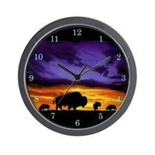 Cute Bison art Wall Clock