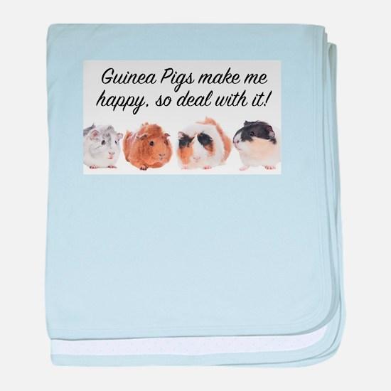 Guinea Pigs make me happy baby blanket
