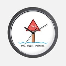 Red Right Return Wall Clock