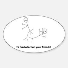 Funny Fart On Friends Sticker (Oval)