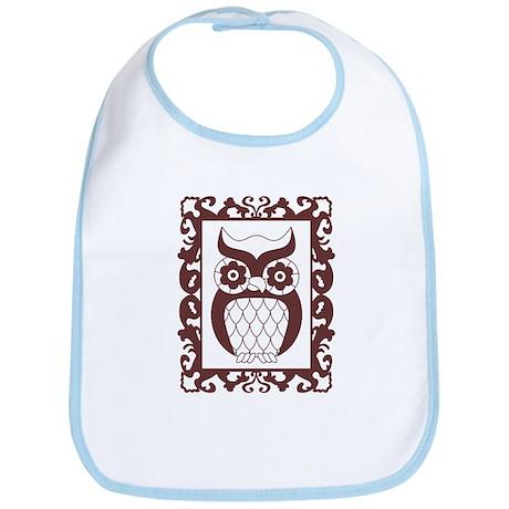 Retro Style Framed Owl Baby Bib