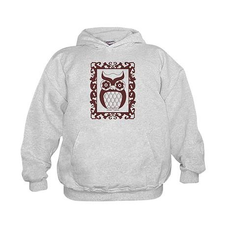 Retro Style Framed Owl Kids Hoodie