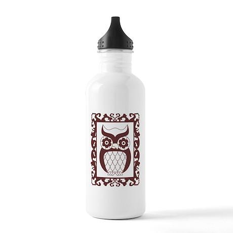 Retro Style Framed Owl Stainless Water Bottle 1.0L