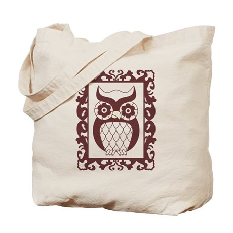 Retro Style Framed Owl Tote Bag