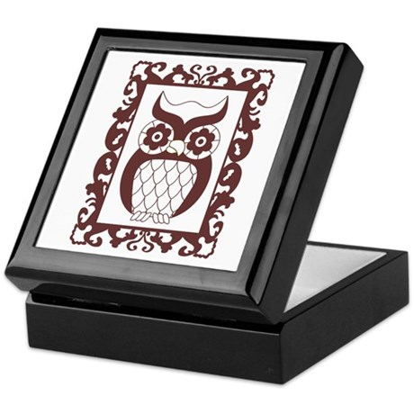Retro Style Framed Owl Keepsake Box