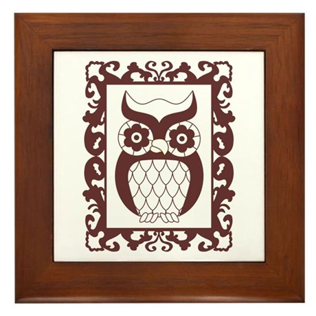 Retro Style Framed Owl Framed Tile