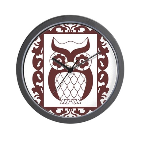 Retro Style Framed Owl Wall Clock
