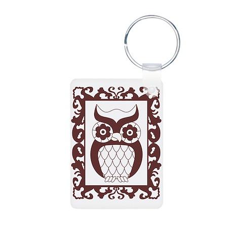 Retro Style Framed Owl Aluminum Photo Keychain