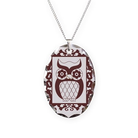 Retro Style Framed Owl Necklace Oval Charm