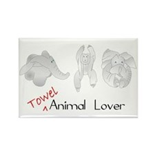 Towel Animal Lover Rectangle Magnet