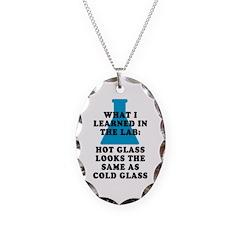 Lab Glass Necklace Oval Charm
