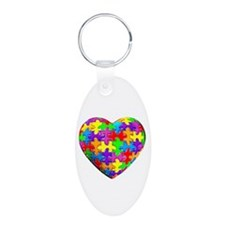 Jelly Puzzle Heart Aluminum Oval Keychain