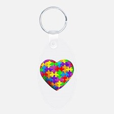Jelly Puzzle Heart Keychains