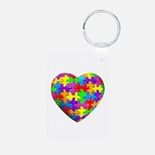Jelly Puzzle Heart Aluminum Photo Keychain