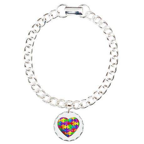 Jelly Puzzle Heart Charm Bracelet, One Charm