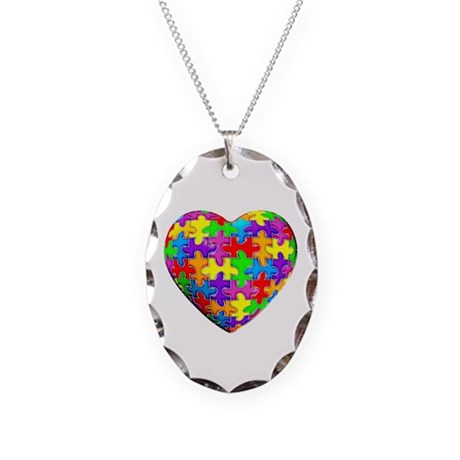 Jelly Puzzle Heart Necklace Oval Charm