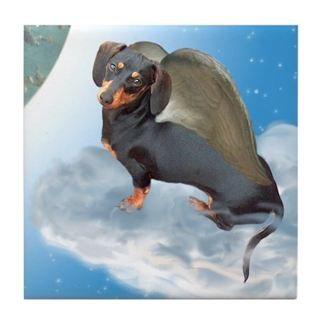 Angel Dachshund Dogs Tile Coaster