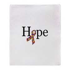 Autism HOPE Ribbon Throw Blanket