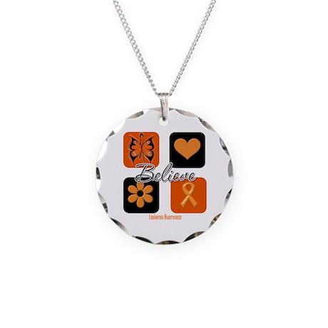 Believe Leukemia Awareness Necklace Circle Charm