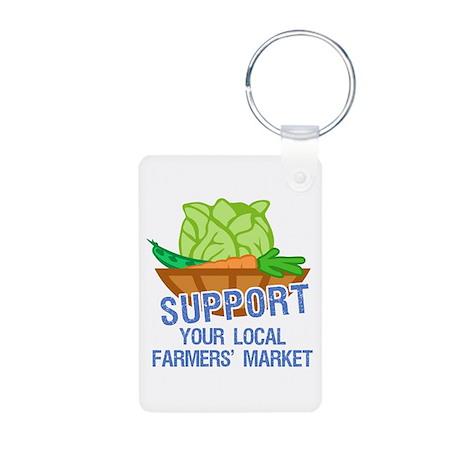 Farmers Market Aluminum Photo Keychain