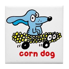 Corn dog on wheels Tile Coaster