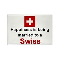 """Happily Married To A Swiss Magnet (3""""x2"""")"""
