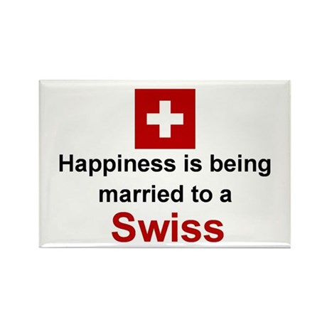 "Happily Married To A Swiss Magnet (3""x2"")"