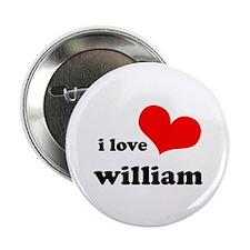 """I Love William 2.25"""" Button"""