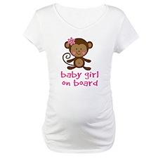 Cute Baby Girl Monkey On Board Maternity Tee